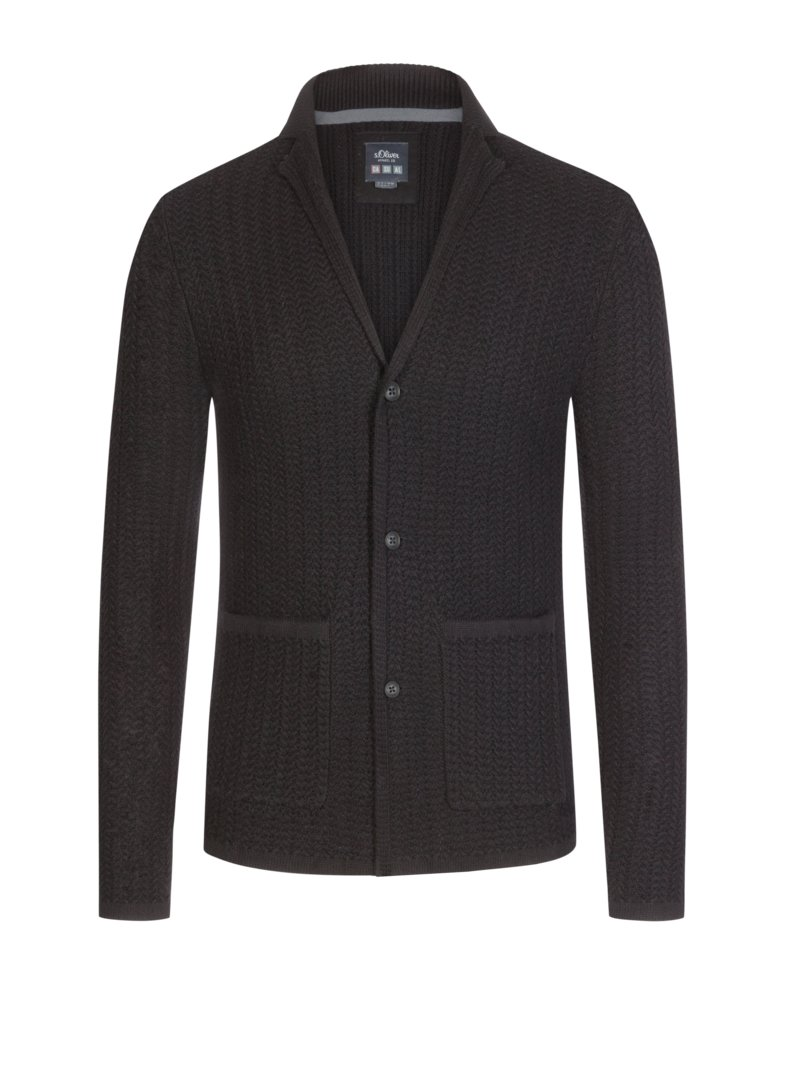 s.Oliver Cardigan in a blazer style, extra long, black