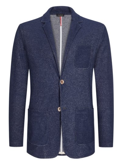 Knitted blazer in a cotton blend v BLUE