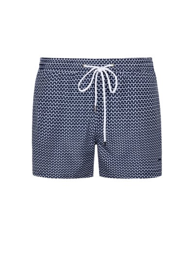 Swimming trunks with geometric print v BLUE