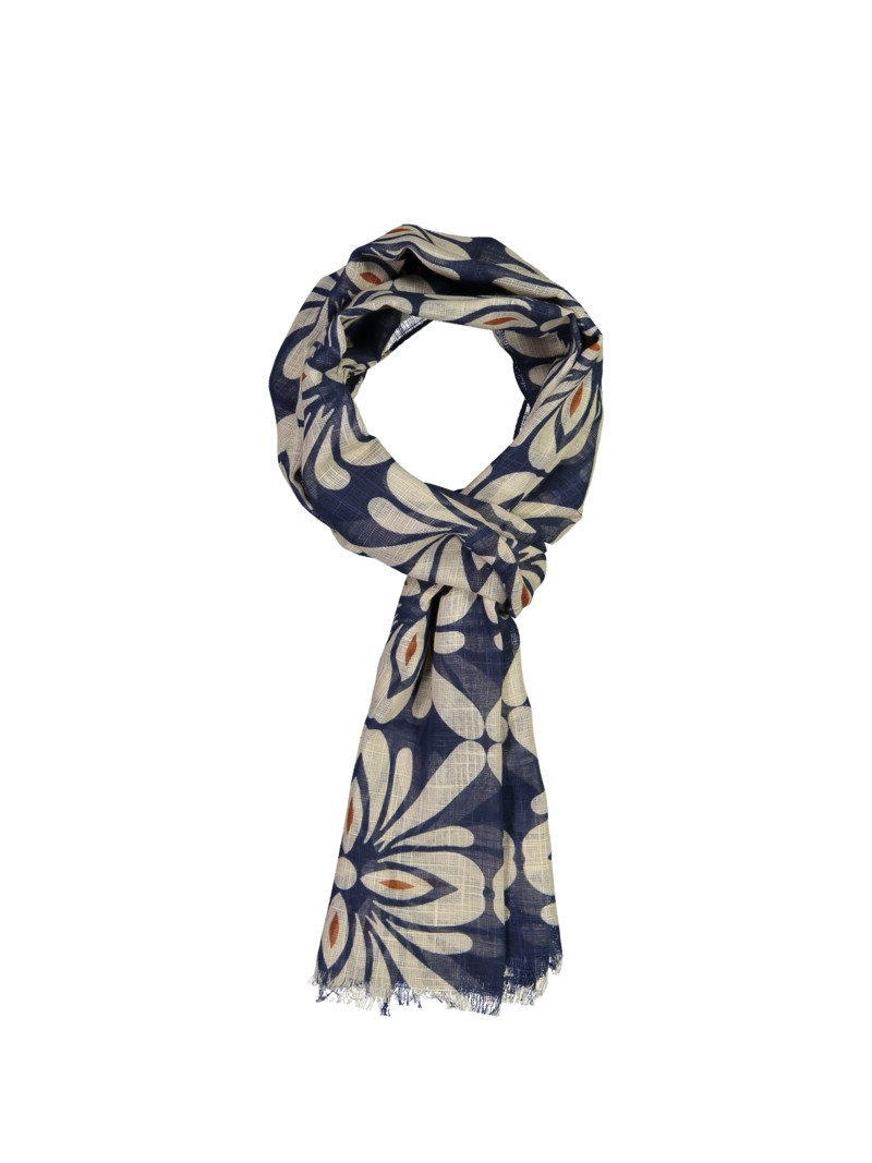 Stenströms Scarf with stylish pattern BLUE in plus size