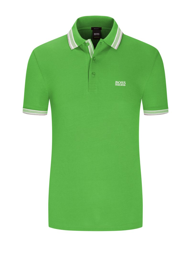 Boss Polo shirt with contrast collar PETROL in plus size