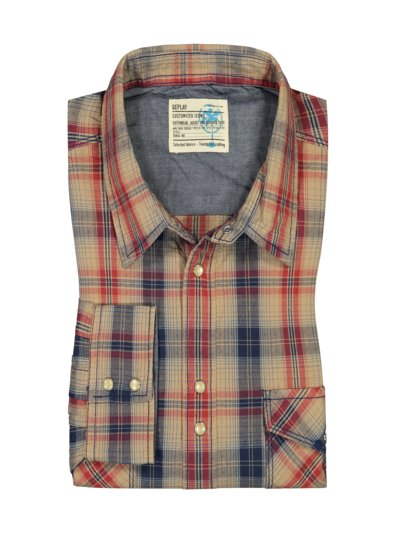 Casual shirt with check pattern v BROWN