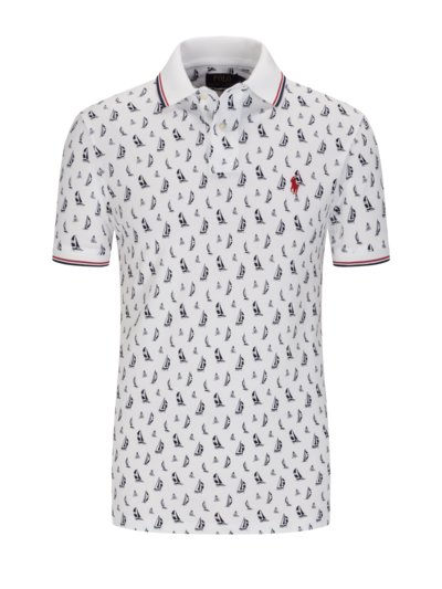 Poloshirt mit Allover-Print in WEISS