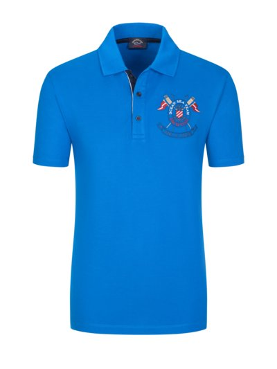 Poloshirt mit maritimer Stickerei in ROYAL