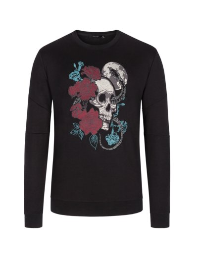 Sweatshirt with large embroidered skull v BLACK
