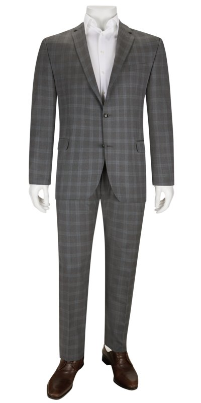 Business suit with check pattern v GREY