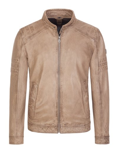 Stylish leather jacket in a biker look, Cave v BROWN