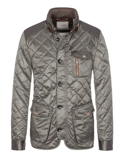Casual jacket with a trendy quilted pattern v OLIVE