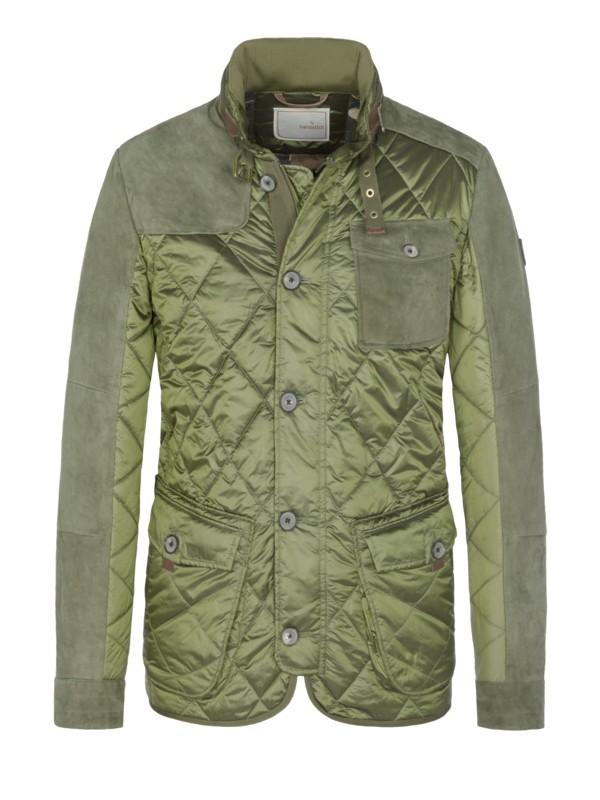 Handstich Prošívaná bunda s aplikací s jehněčí kožešinou olivová – Pánská  móda v nadměrné velikosti 63bc9d4dcb