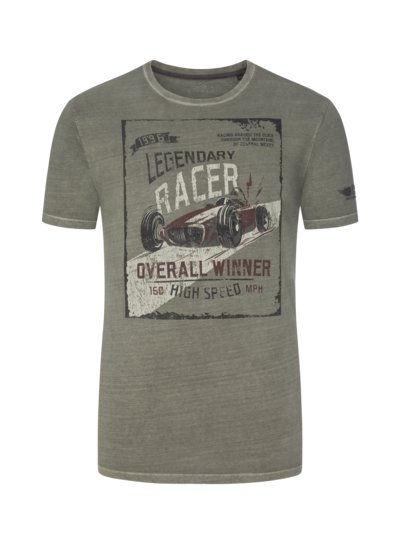 T-shirt in a washed look, extra long v OLIVE-