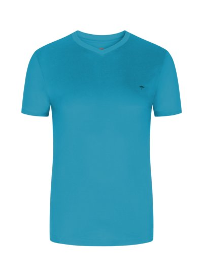 T-shirt, V-neck, extra long v TURQUOISE*