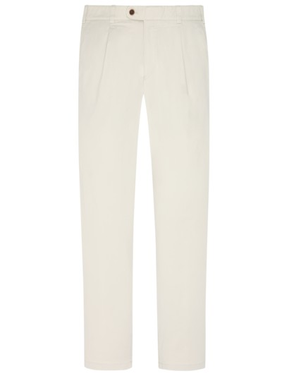 Chinos with front crease, stretch fabric v PUTTY