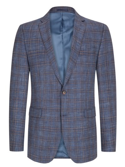 Blazer with overcheck pattern v BLUE
