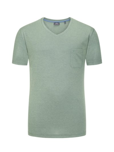 T-Shirt with breast pocket v GREEN