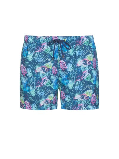 Swimming trunks with palm print v BLUE