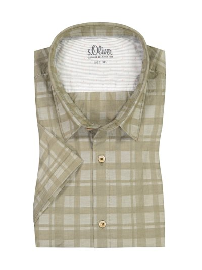 Casual shirt with check print, short sleeve v OLIVE-