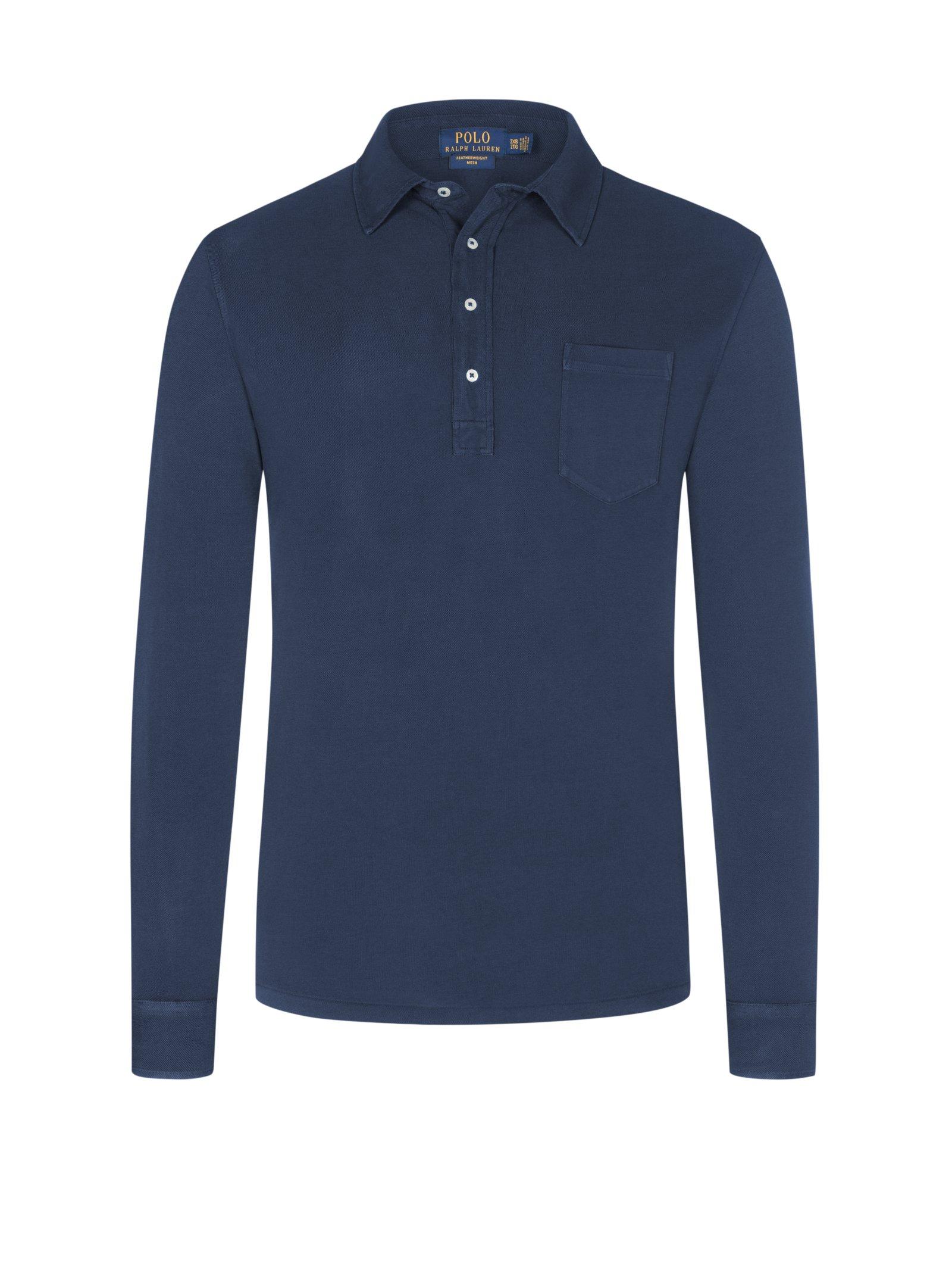big sale e6635 5c4d7 Polo Ralph Lauren Langarm-Poloshirt mit Brusttasche marine ...