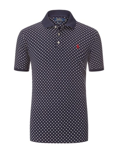 Polo shirt with micro print v MARINE
