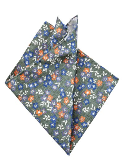 Pocket kerchief with a floral pattern v GREEN
