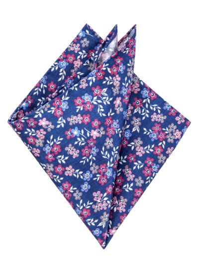 Pocket kerchief with a floral pattern v BLUE