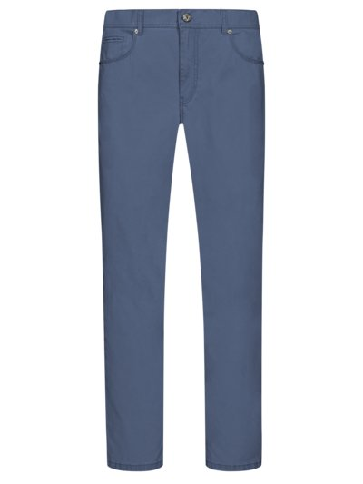Cotton trousers with stretch content, Regular Fit v BLUE
