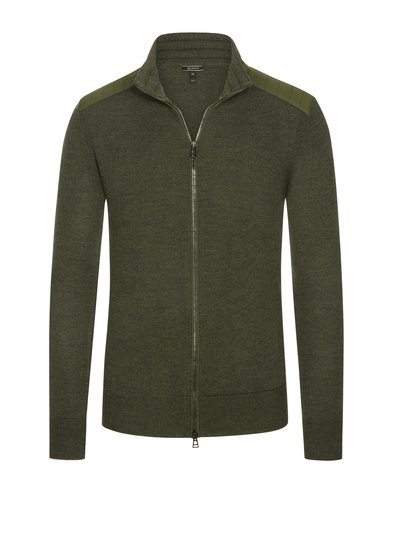 Cardigan with quilted shoulder sections v OLIVE-