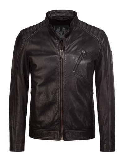 Biker-style leather jacket with quilted shoulders v BLACK
