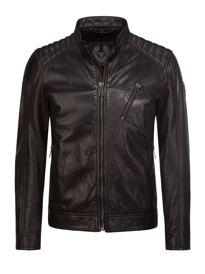 Belstaff Biker-style leather jacket with quilted shoulders BLACK in plus size