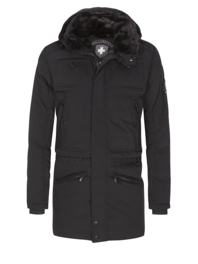 Warm, comfortable casual jacket with zip-off hood v BLACK