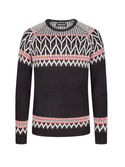 Trendy sweater with Norwegian pattern v BLACK