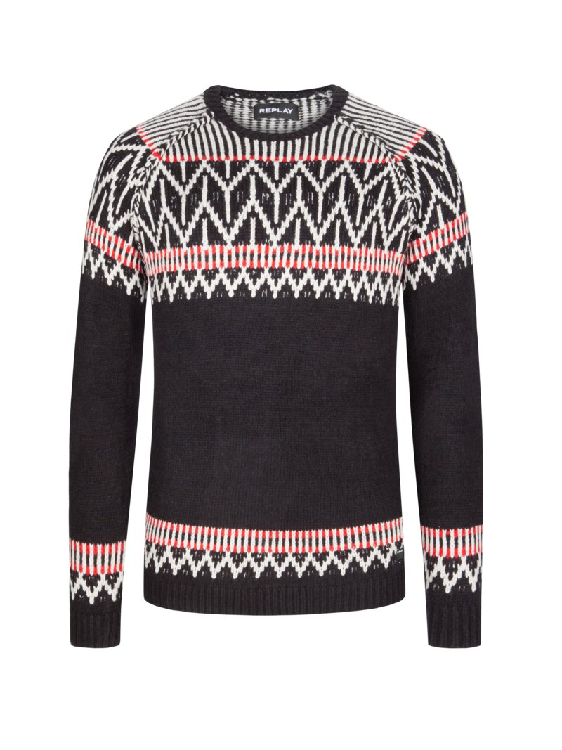 Replay Trendy sweater with Norwegian pattern BLACK in plus size