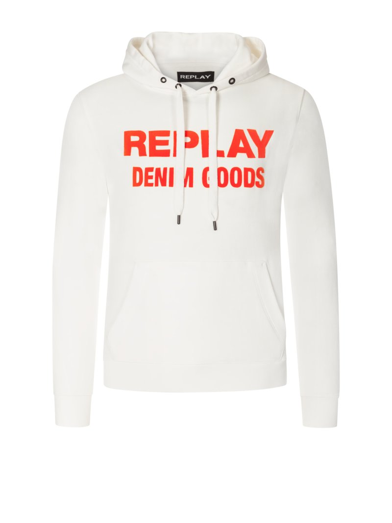 Replay Sweatshirt with contrast logo GREEN in plus size
