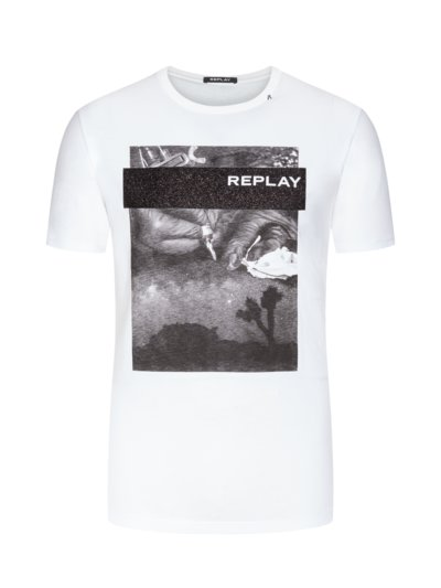 T-shirt with front print v WHITE