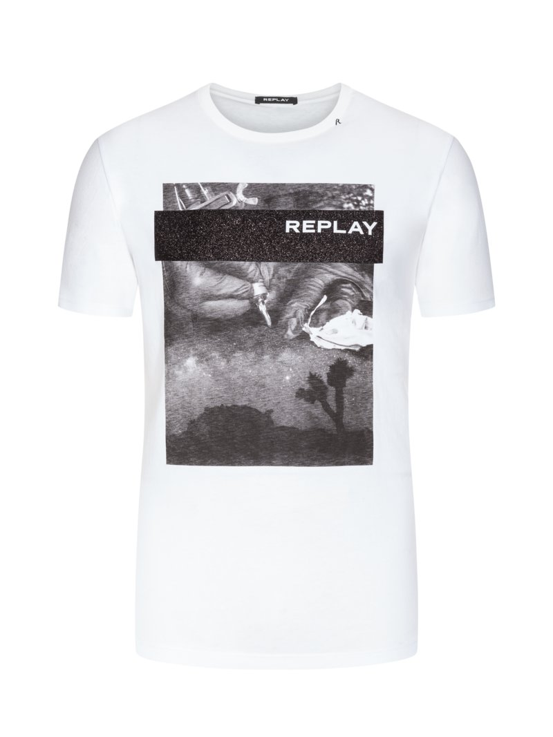 Replay T-shirt with front print WHITE in plus size