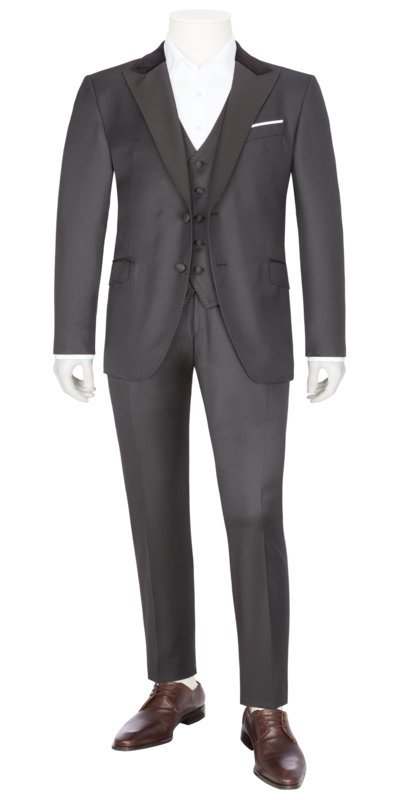 Suit separates three-piece suit with wide label in a virgin wool blend v BLACK