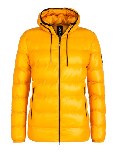 Quilted jacket with hood v YELLOW