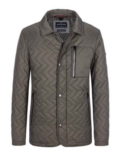 Quilted jacket with trendy quilted pattern and turn-down collar v OLIVE-