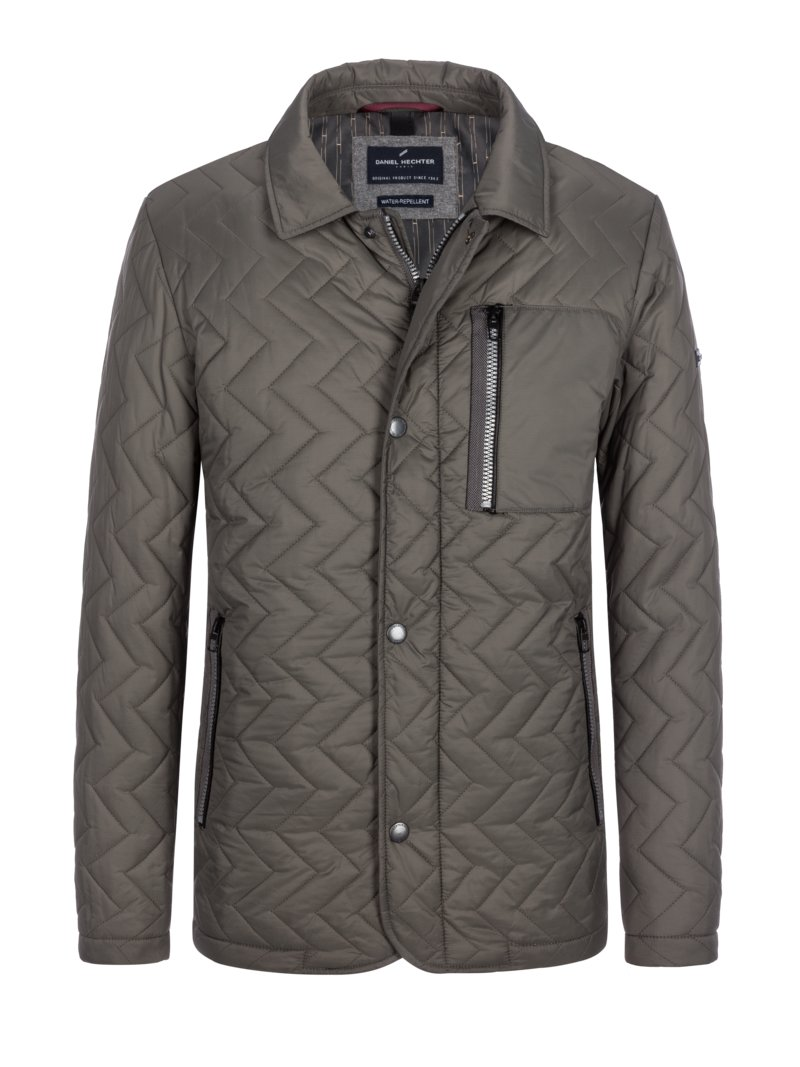 Daniel Hechter Quilted jacket with trendy quilted pattern and turn-down collar OLIVE- in plus size