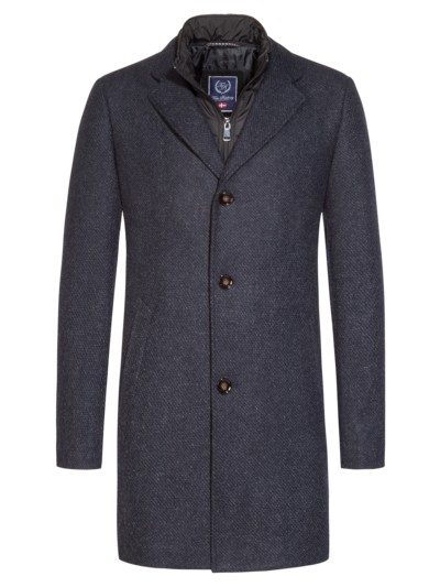 Coat with a detachable yoke in a wool blend v BLUE