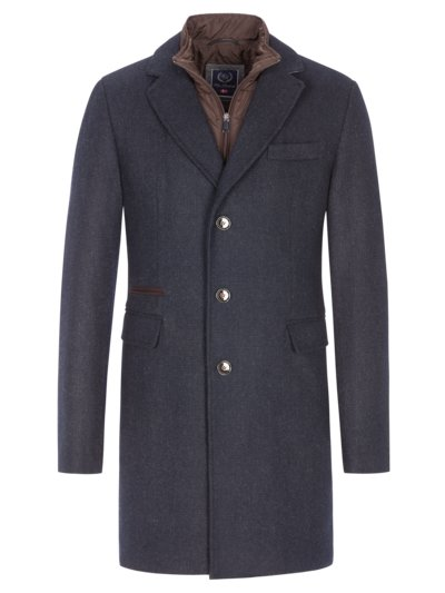 Coat with a detachable yoke in a minimalistic pattern v BLUE