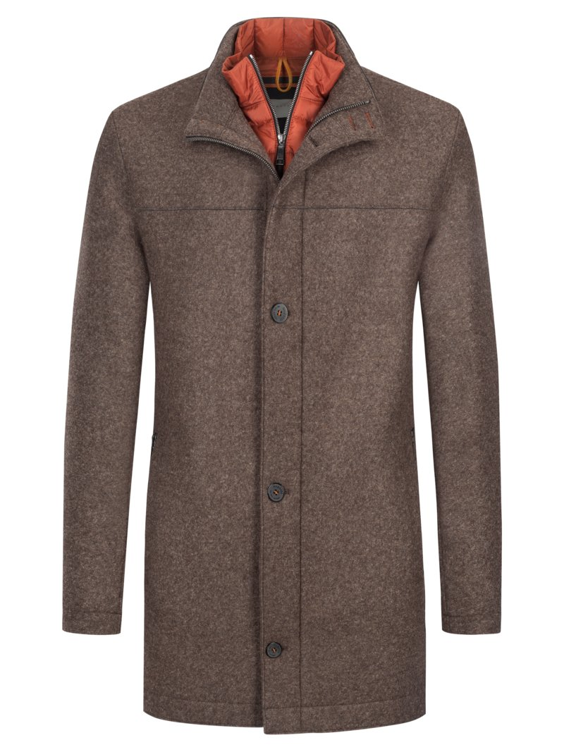 Bugatti Wool jacket with removable yoke LIGHT BROWN in plus size