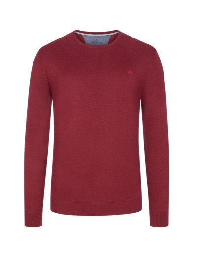 Pullover, O-Neck, in reiner Baumwolle in BORDEAUX