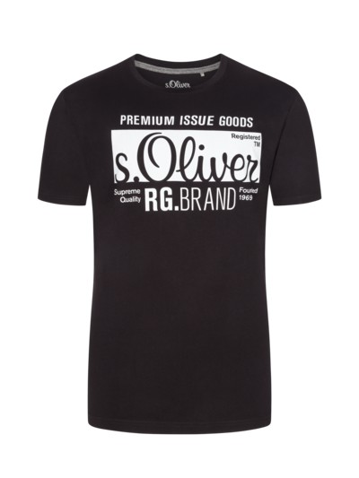 T-Shirt, O-Neck, mit Logo-Kontrastprint in SCHWARZ