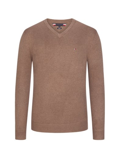 Sweater, V-neck, with cashmere content v BROWN