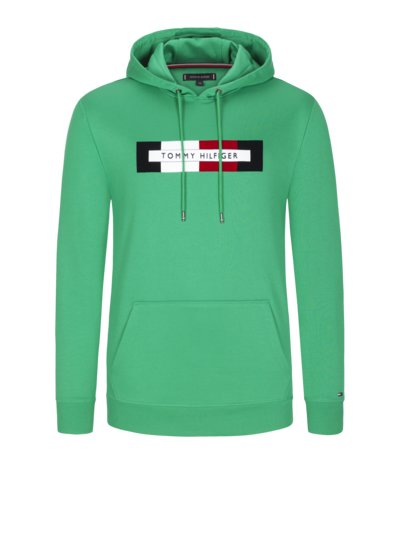 Sweatshirt with velvet logo v GREEN
