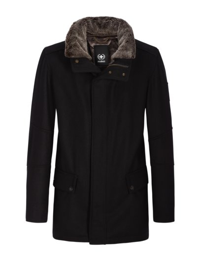 Wool jacket with removable faux fur v BLACK