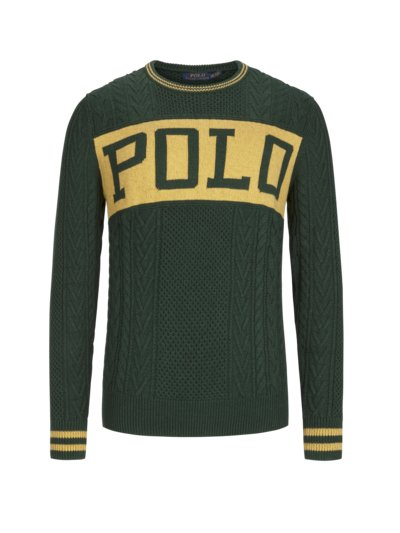 Cable knit sweater v GREEN