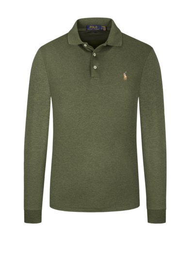 Polo shirt, long sleeves, in mercerised cotton v OLIVE-