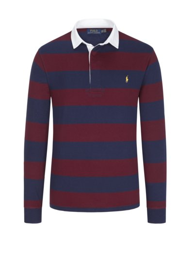 Rubgy shirt with block stripes and contrasting collar v RED