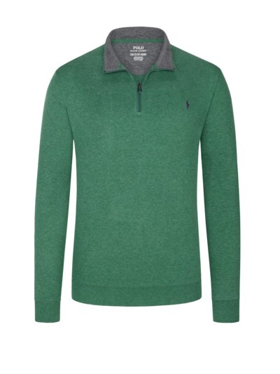 Sweatshirt in a troyer style v GREEN